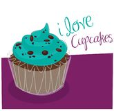 Mint Cupcake. Illustration of a chocolate cupcake with blue frosting stock illustration