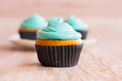 Mint cupcakes closeup. The background is blurred. Photo mint cupcakes closeup. Against the background of the remaining cupcakes on the plate Stock Photos