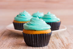 Mint cupcakes on the wooden background. Close-up. Photo mint cupcakes closeup. Against the background of the remaining cupcakes on the plate Stock Images