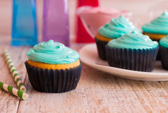 Mint cupcakes on the wooden background. Photo mint cupcakes closeup. Against the background of the remaining cupcakes on the plate Stock Photo