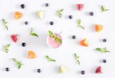 Mint, cut citrus, yoghurt design on white background top view pattern Stock Photos