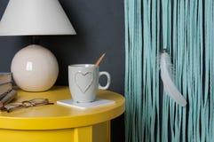 Mint dream catcher on bedroom interior Stock Photos