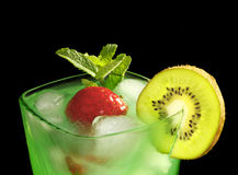Mint drink with strawberries and kiwi Royalty Free Stock Photography