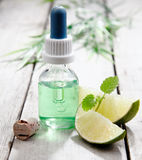 Mint essential oil with lemon Stock Photos