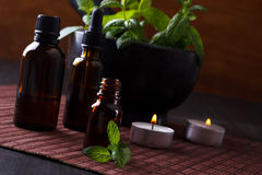 Mint essential oils Royalty Free Stock Photo