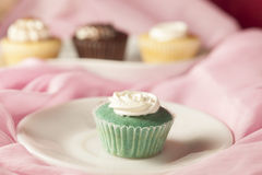 Mint flavor cup cake Stock Photos