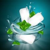 Mint flavor gum ad with leaf and water splash element,on light blue background, 3d illustration. Vector illustration stock illustration