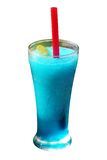 Mint flavored blue juice smoothie with ice, lime Royalty Free Stock Photos