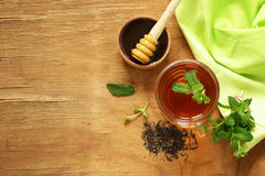 Mint flavored tea in a cup Royalty Free Stock Image