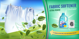 Mint fragrance fabric softener gel ads. Vector realistic Illustration with laundry clothes and softener rinse container. Horizonta. Vector realistic Illustration Stock Image