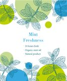 Mint freshness sketch template. Illustration royalty free illustration