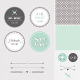 Mint + Gray Save The Date Wedding Graphic Set Stock Photos