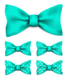 Mint green bow tie with white dots realistic vector illustration. Set  on white background Royalty Free Stock Photos