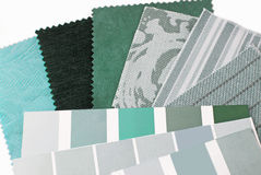 Mint green color design selection. Closeup of the mint green color design selection stock photos