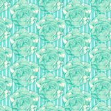 Mint green cool abstract seamless floral pattern. Mint green cool abstract floral seamless pattern over stripes background. for textiles, fabric, backgrounds stock illustration