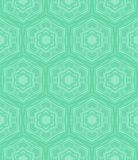 Mint green geometric pattern in 60s style. Hexagon geometric pattern in mint green and tropical aqua blue colors. Texture for web, print, wallpaper, home decor royalty free illustration
