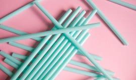 Mint green straws stock photography