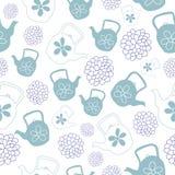Mint Green Teapots Seamless Pattern Design royalty free illustration