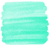 Mint green watercolor background, square brush stroke Royalty Free Stock Photo