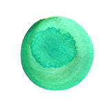Mint green watercolor circle isolated on white. Abstract round background. Watercolour stains texture. Space for your. Own text. Round background. Hand drawn stock illustration
