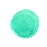 Mint green watercolor circle isolated on white. Abstract round background. Watercolour stains texture. Space for your. Own text. Round background. Hand drawn vector illustration