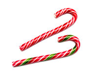 Mint hard candy cane striped in Christmas colours Royalty Free Stock Images