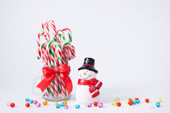 Mint hard candy cane striped in red Royalty Free Stock Photos