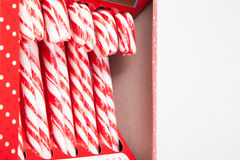 Mint hard candy cane striped in red Stock Image