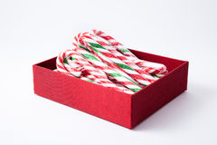 Mint hard candy cane striped in red Royalty Free Stock Image