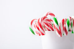Mint hard candy cane striped in red Stock Photography