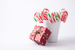 Mint hard candy cane striped in red Stock Photo