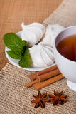Mint herbal tea with cookies. Golden herbal tea with cookies, mint leaves and anis Royalty Free Stock Photo