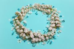 Mint horizontal background with spring chestnut garland Stock Image