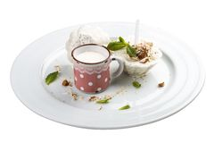 Mint ice cream with almonds. royalty free stock images
