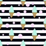 Mint ice cream, bubble and stripes. Seamless background Stock Image