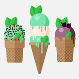 Mint ice cream cone. Mint ice cream scoop in cone with vanilla, chocolate and blackberry. Mint ice cream cones, vector. Flat illustration. Isolated on white Royalty Free Stock Images