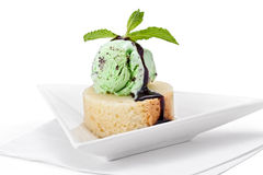 Mint Ice Cream on Pound Cake Stock Photography