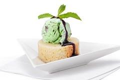 Mint Ice Cream on Pound Cake stock photography