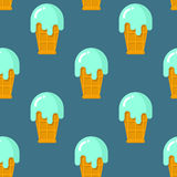 Mint ice cream seamless pattern. Cool dessert in waffle Cup. Tex Royalty Free Stock Photo