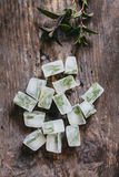 Mint ice cubes Royalty Free Stock Image