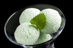 Mint icecream scoops in glass bowl Royalty Free Stock Image