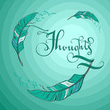 Mint illustration with feathers Royalty Free Stock Image