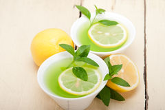 Mint infusion tea tisane with lemon Royalty Free Stock Photography