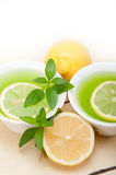 Mint infusion tea tisane with lemon Royalty Free Stock Images