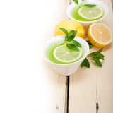 Mint infusion tea tisane with lemon Stock Image