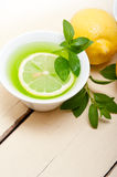 Mint infusion tea tisane with lemon Stock Photography