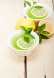 Mint infusion tea tisane with lemon Stock Images