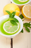 Mint infusion tea tisane with lemon Royalty Free Stock Photos