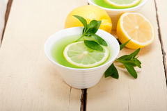 Mint infusion tea tisane with lemon Stock Photos