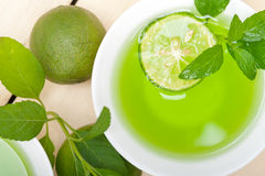 Mint infusion tea tisane with lime Royalty Free Stock Image